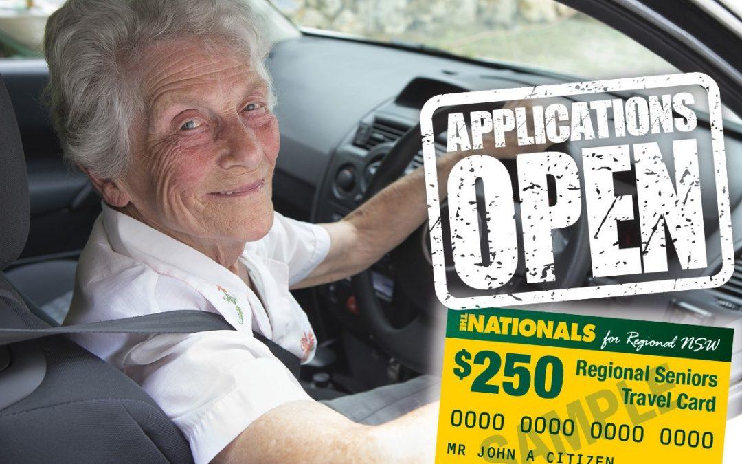 APPLICATIONS OPEN FOR $250 REGIONAL SENIORS TRAVEL CARD