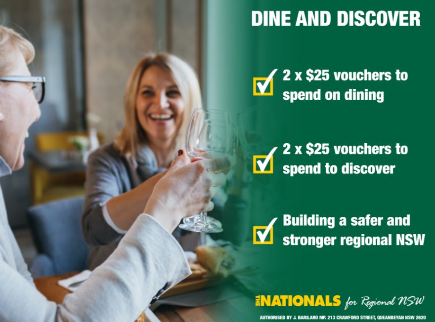 DINE AND DISCOVER VOUCHERS NOW AVAILABLE FOR RESIDENTS IN THE NORTHERN RIVERS